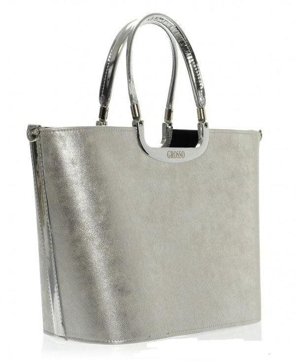 bdeadf173bf Stříbrná kabelka do ruky Grosso S7 patinová