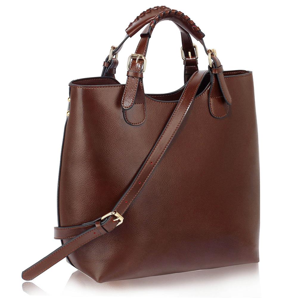 Tmavěhnědá (kávová) velká kabelka shopperbag LS00267