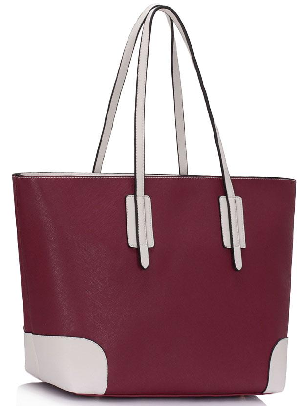 Tmavěčervená kabelka na rameno LS0088A