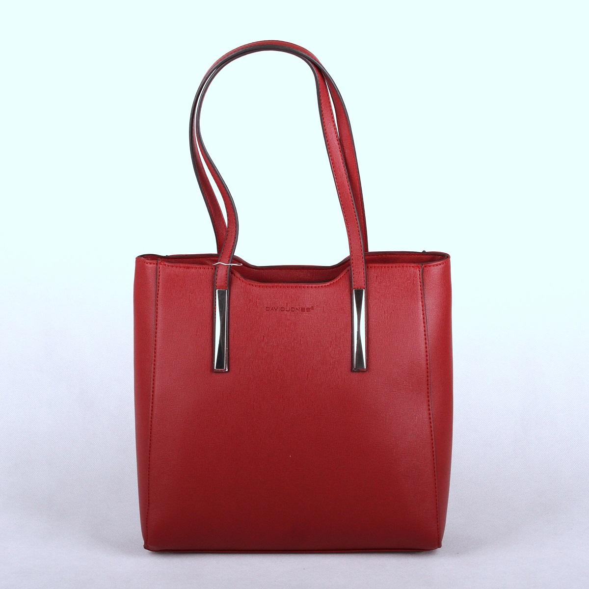 Velká tmavěčervená kabelka na rameno David Jones 5251-2