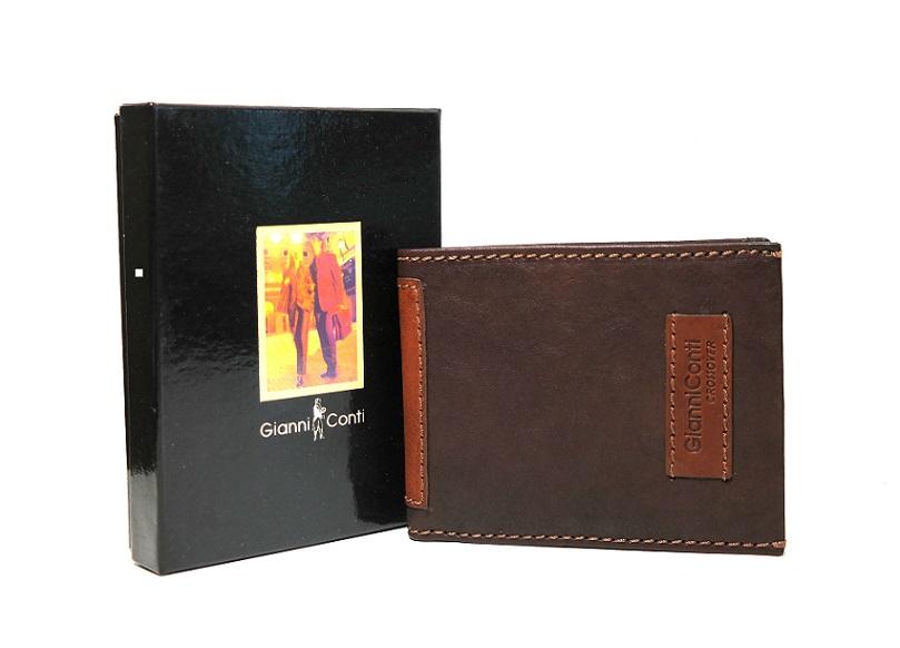 Luxusní tmavěhnědá-světlehnědá pánská kožená peněženka Gianni Conti no. 997144