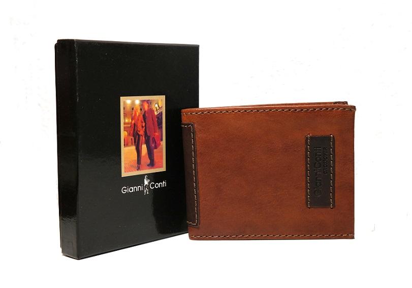 Luxusní světlehnědá-tmavěhnědá pánská kožená peněženka Gianni Conti no. 997144