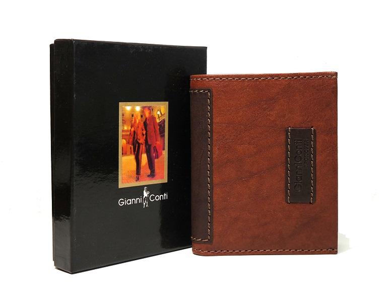 Luxusní světlehnědá-tmavěhnědá kožená peněženka Gianni Conti no. 997117