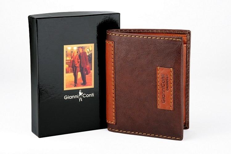 Luxusní tmavěhnědá-světlehnědá kožená peněženka Gianni Conti no. 997117