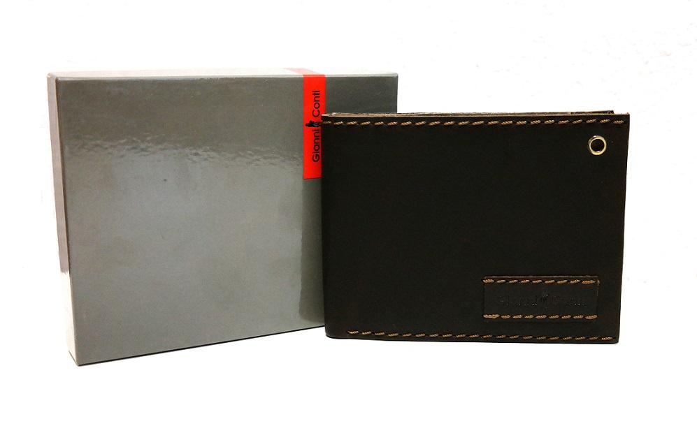 Luxusní tmavěhnědá pánská kožená peněženka Gianni Conti no. 1227100