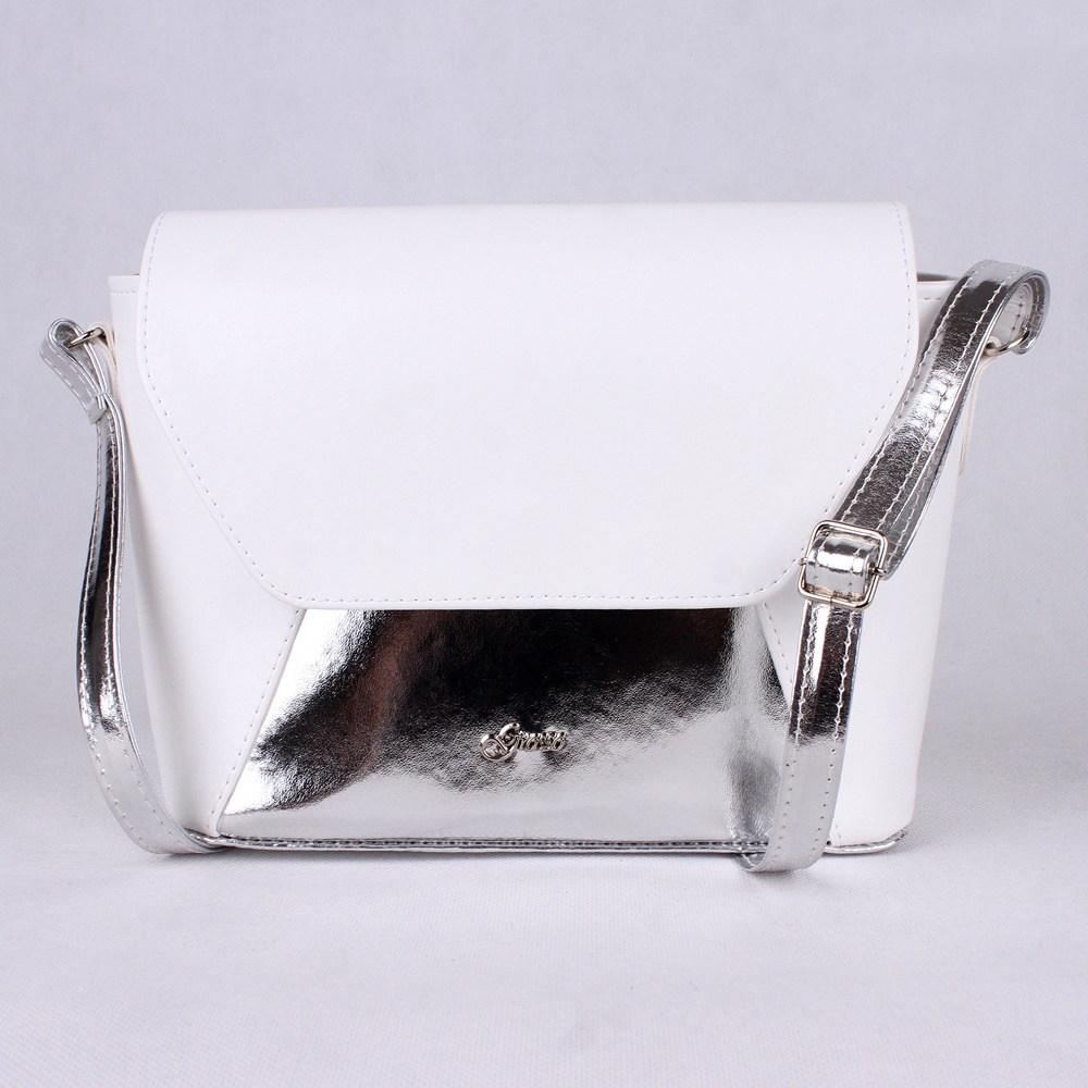 28da2ca2a7 Malá bílo-stříbrná crossbody kabelka Grosso