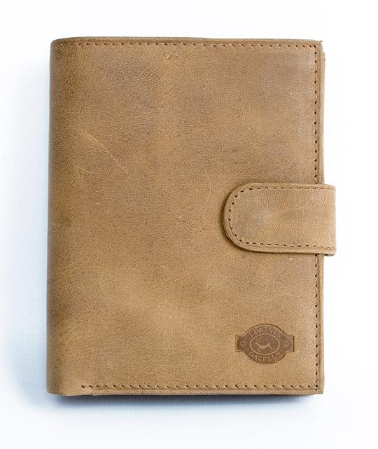 Hnědá pánská kožená peněženka Gazello na výšku