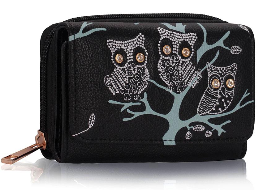 Černá dětská peněženka LSP1045 se sovami