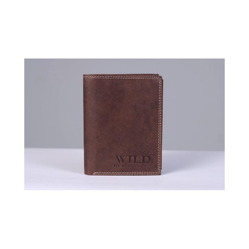 Hnědá pánská kožená peněženka WILD by Loranzo na výšku