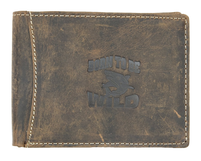 Hnědá pánská kožená peněženka Born to be Wild se žralokem podélná