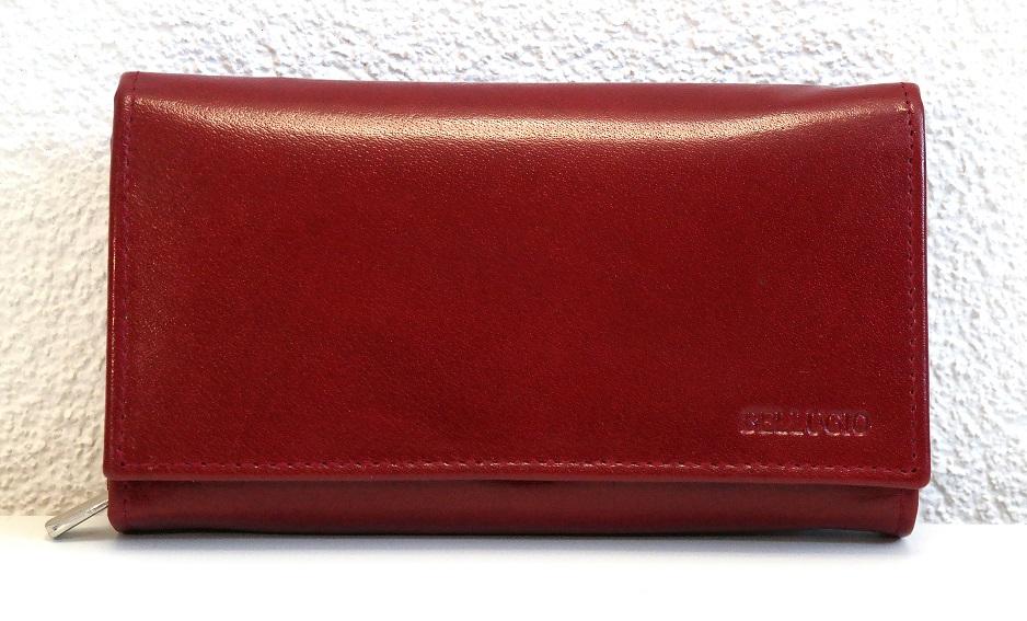 Tmavěčervená mírné lesklá dámská kožená peněženka Bellugio