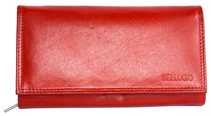 Červená kožená peněženka BELLUGIO