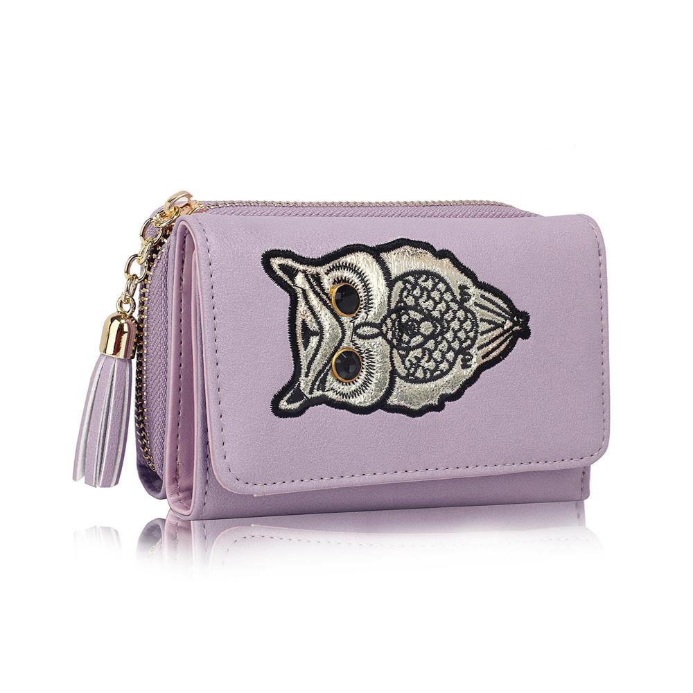 Dětská peněženka LS1080 fialová se sovou