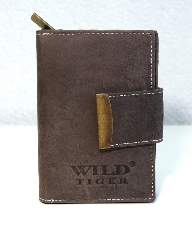 Hnědá dámská peněženka Wild Tiger s upínkou