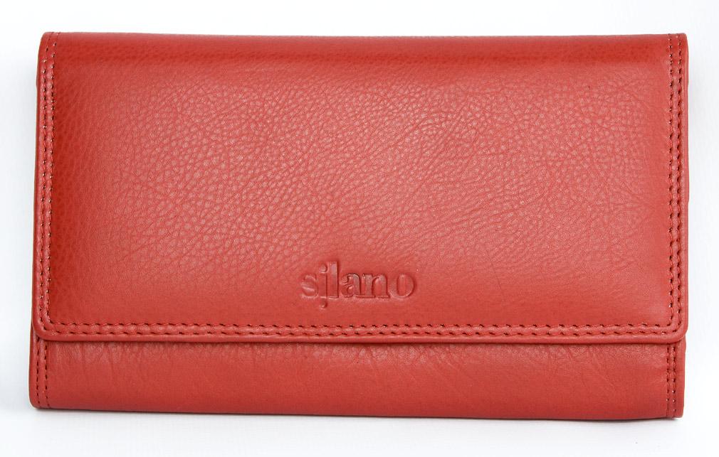 Červená kožená peněženka Silano