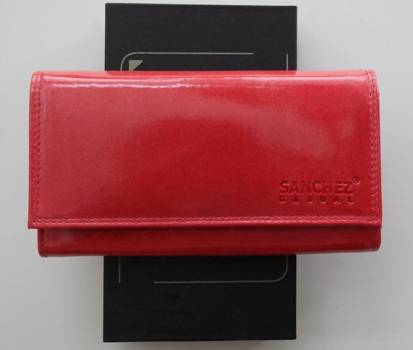 Lesklá červená kožená peněženka SANCHEZ