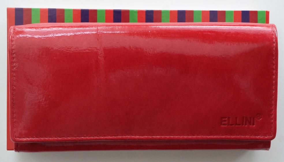 Lesklá červená kožená peněženka Ellini