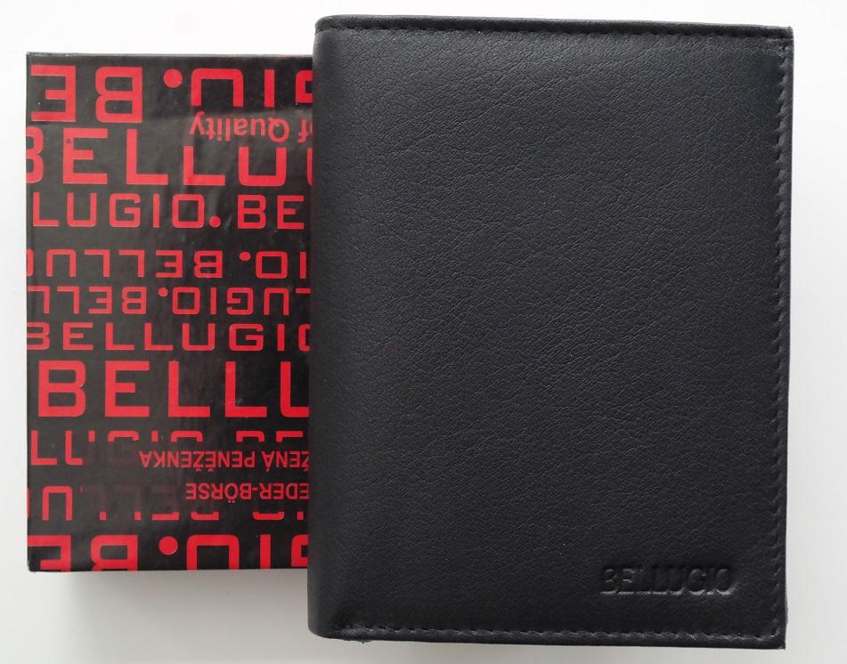 Černá pánská kožená peněženka BELLUGIO na výšku