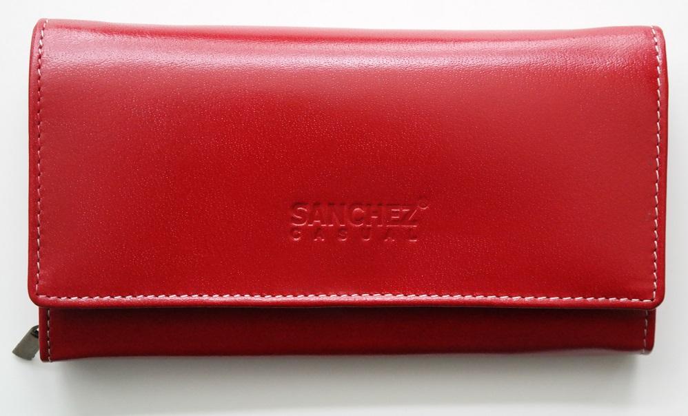 Červená kožená peněženka SANCHEZ