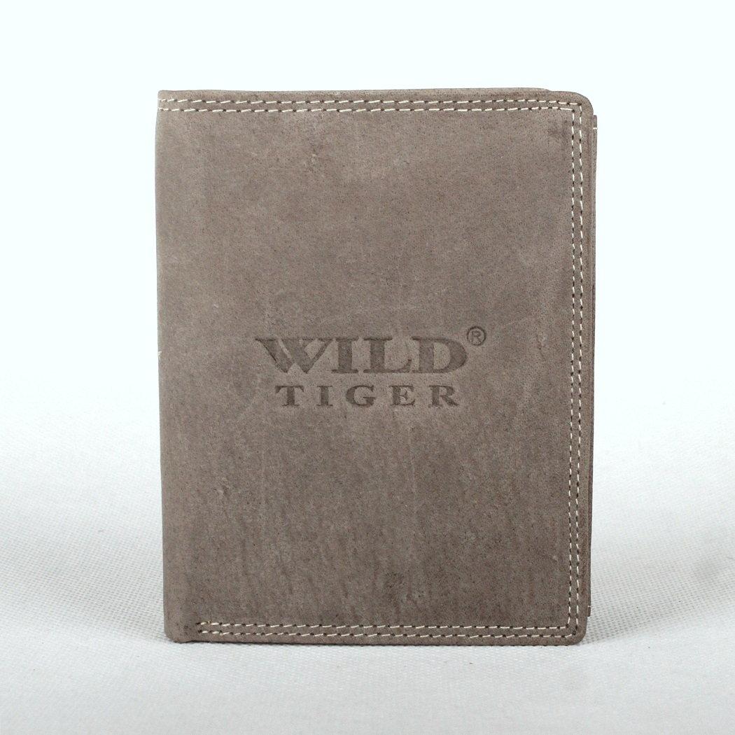 Šedá pánská kožená peněženka Wild Tiger na výšku