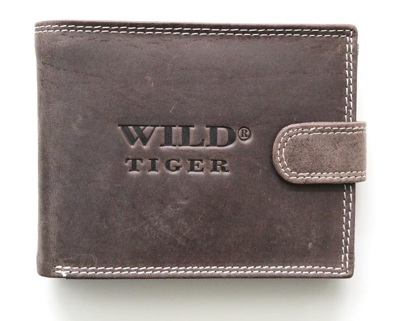 Tmavěhnědá pánská kožená peněženka WILD Tiger podélná