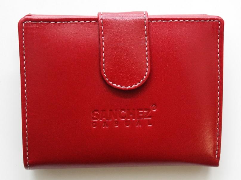 Červená kožená peněženka SANCHEZ s upínkou