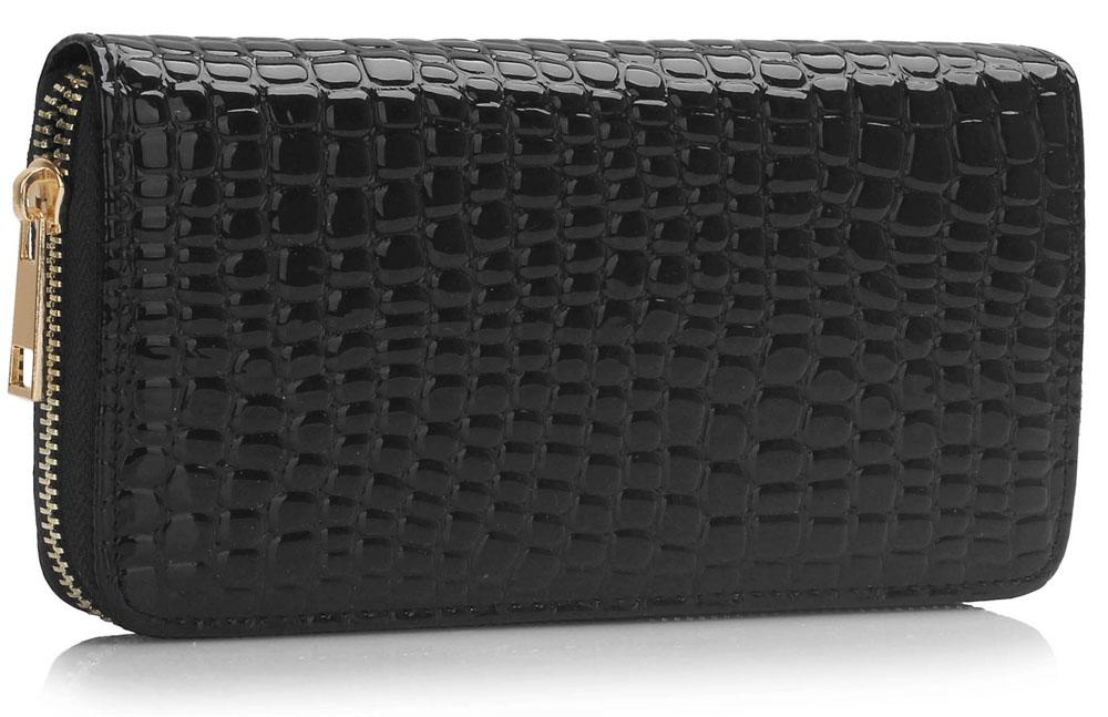 Lesklá černá dámská peněženka LSP1074