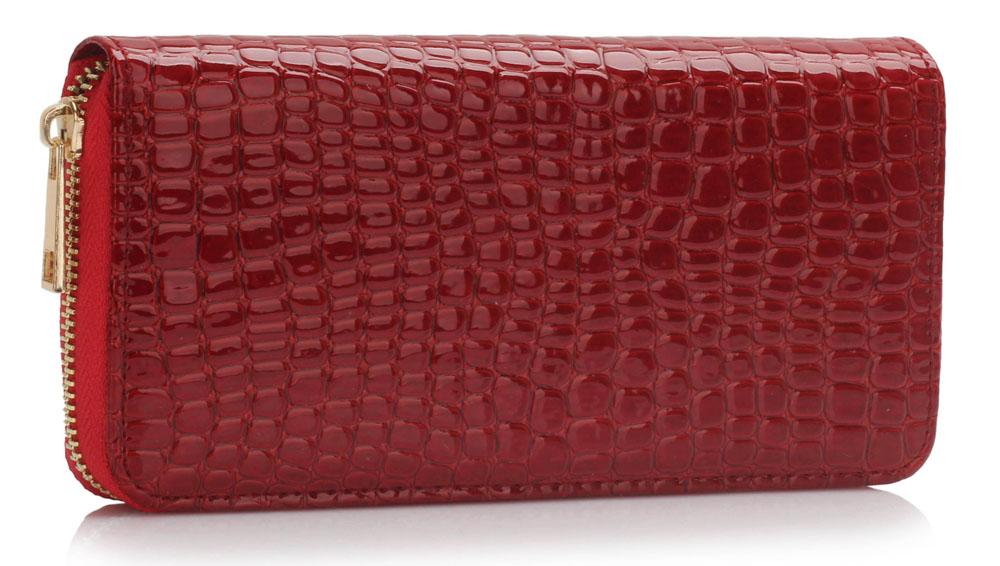 Lesklá červená dámská peněženka LSP1074