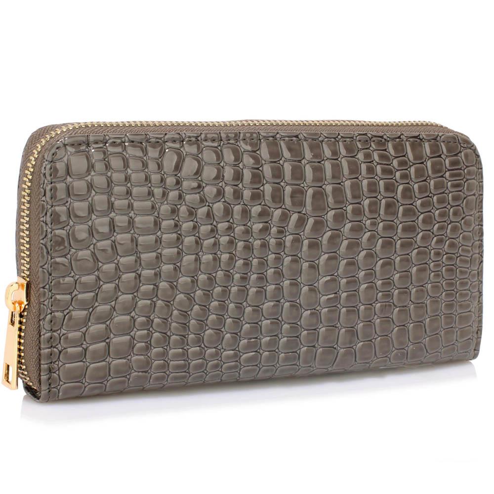 Lesklá šedá dámská peněženka LSP1074