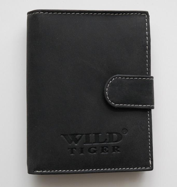 Černá pánská kožená peněženka Wild Tiger na výšku
