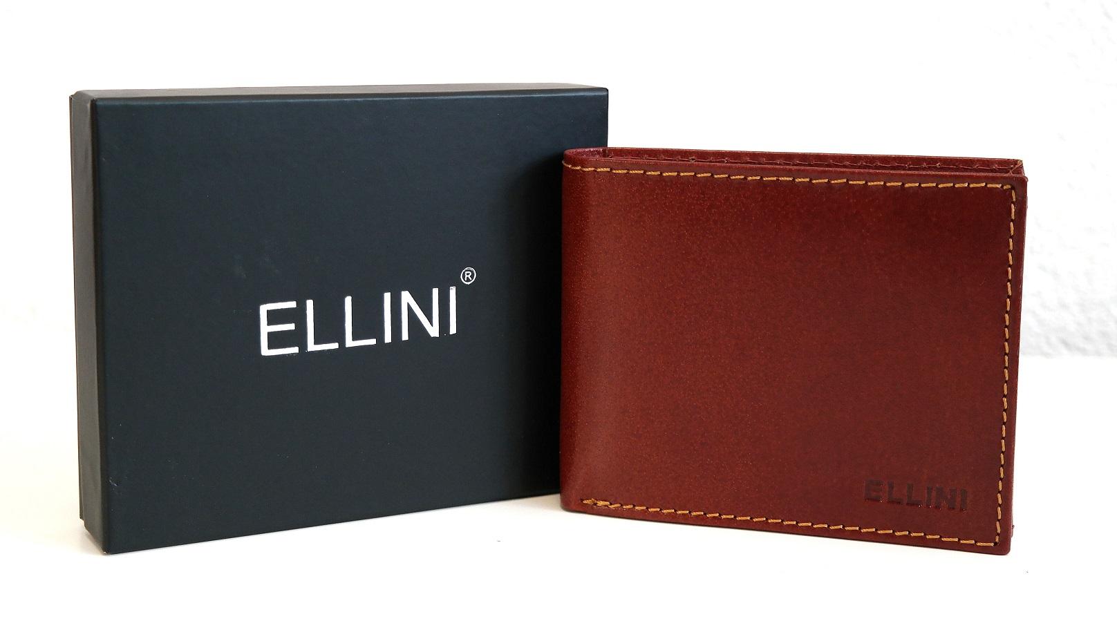 Hnědá pánská kožená peněženka ELLINI podélná