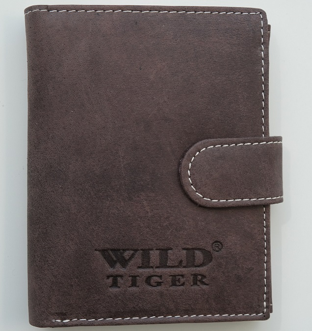 Tmavěhnědá pánská kožená peněženka Wild Tiger na výšku