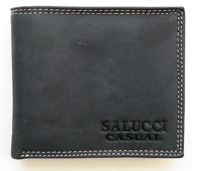 Černá pánská kožená peněženka SALUCCI CASUAL podélná