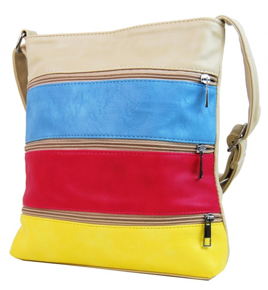 Crossbody kabelka H0438 béžovo-bílo-růžovo-černá