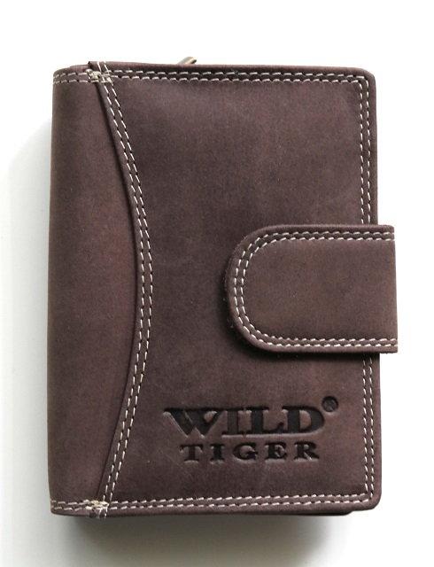 Tmavěhnědá kožená peněženka Wild Tiger