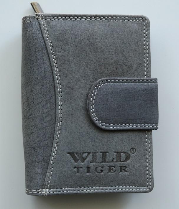 Šedá kožená peněženka Wild Tiger