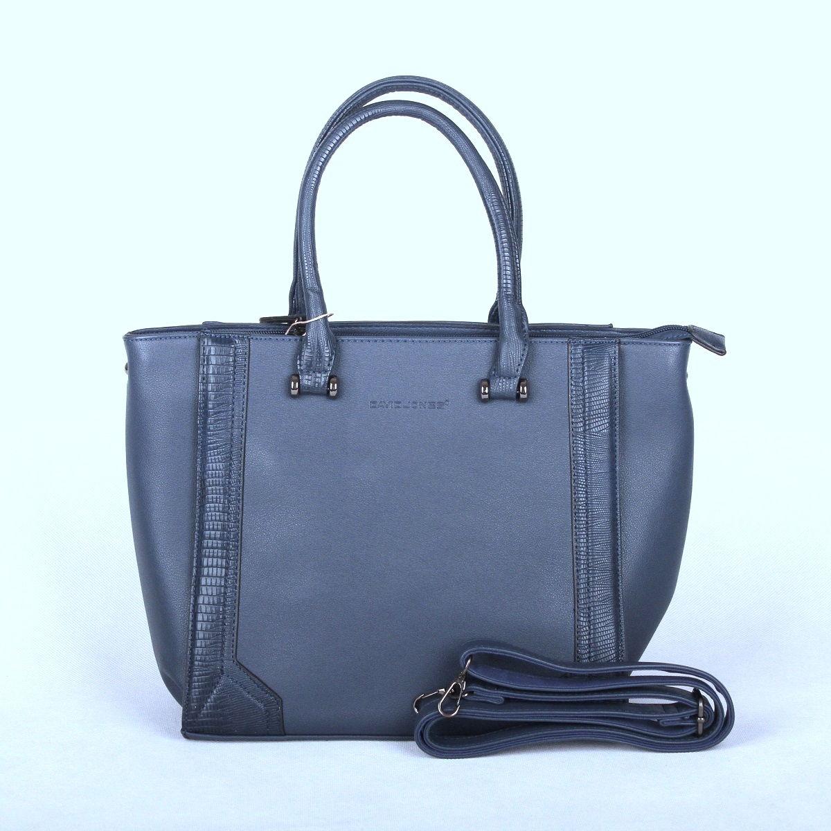 Modrá pevná kabelka do ruky David Jones CM2823