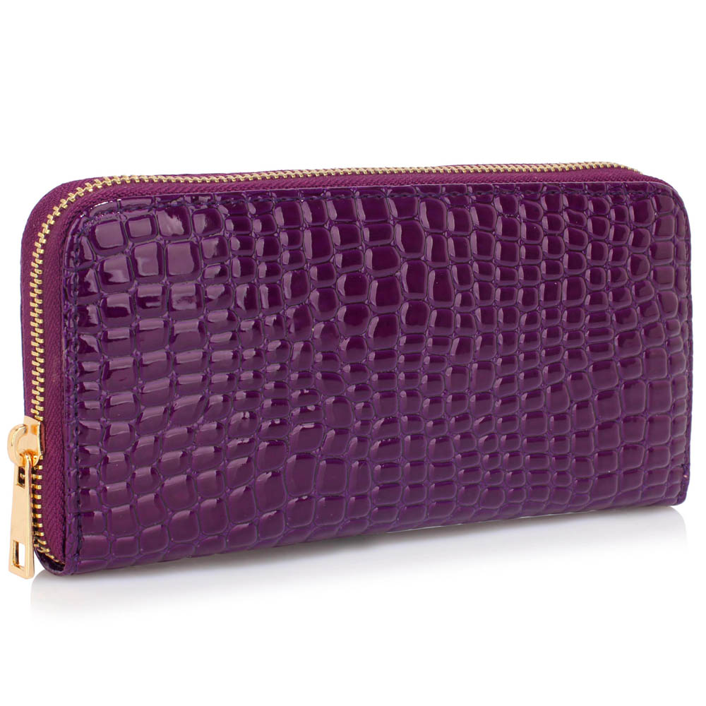 Lesklá fialová peněženka LSP1074
