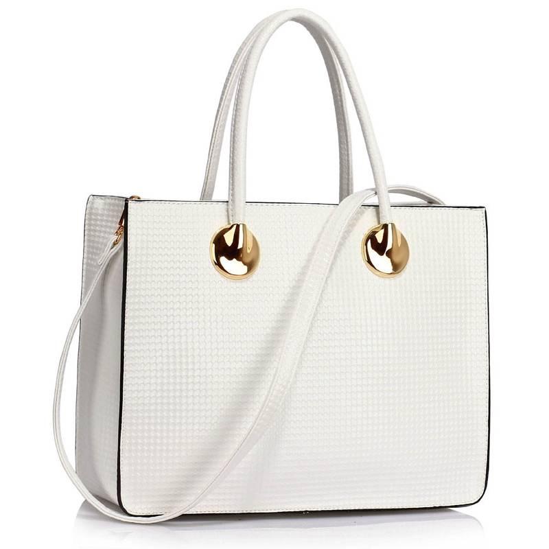 Mírně lesklá bílá kabelka do ruky LS00394A