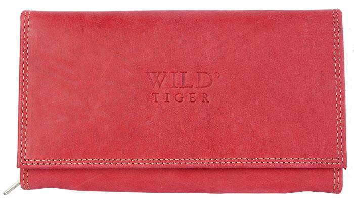 Červená kožená peněženka Wild Tiger
