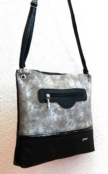 Crossbody kabelka Grosso C1 šedo-černá
