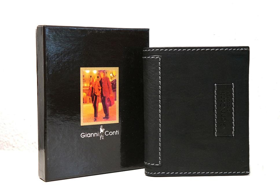 Luxusní černá pánská kožená peněženka Gianni Conti no. 997117 na výšku