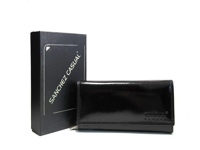 Lesklá dámská kožená černá peněženka SANCHEZ