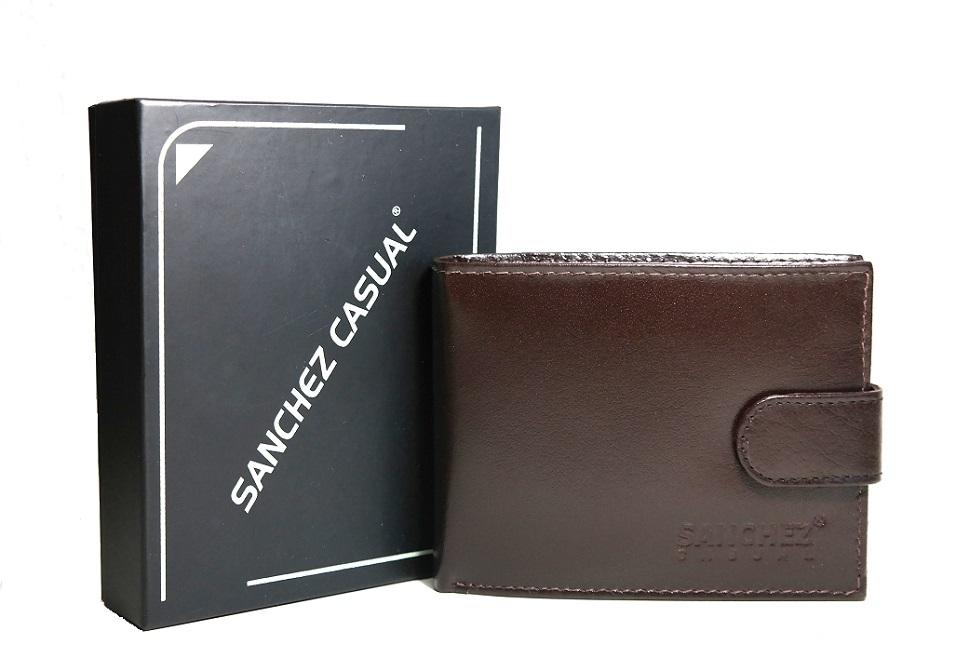 Tmavěhnědá pánská kožená peněženka SANCHEZ Casual no. 032 podélná
