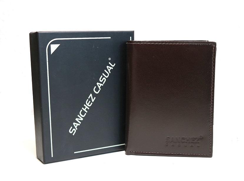 Tmavěhnědá pánská kožená peněženka SANCHEZ Casual no. 123 na výšku