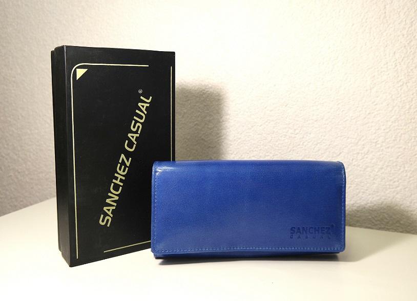 Lesklá modrá dámská kožená peněženka SANCHEZ no. 68M