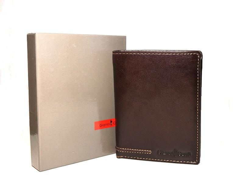 Luxusní tmavěhnědá pánská kožená peněženka Gianni Conti no. 707117