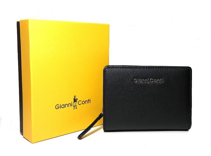Luxusní černá kožená peněženka Gianni Conti no. 586