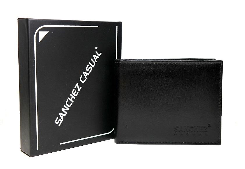 Černá pánská kožená peněženka SANCHEZ Casual no. 032A podélná