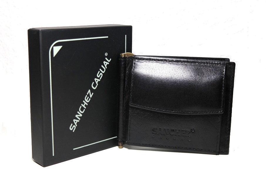 Černá pánská kožená peněženka dolarovka SANCHEZ no. 314 podélná